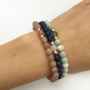 Náramky ze slunečního kamene, lapis lazuli a amazonitu